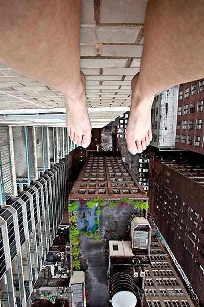 A self portrait of Jun Ahn Dangling over the edge