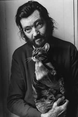 Author Julio Cortazar with his cat 1982